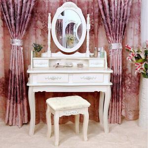 Image Is Loading White Vanity Makeup Dressing Table Set W Stool