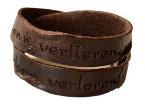 Pulsera de piel auténtica Victor tendencia con look usado vintage marrón con grabado