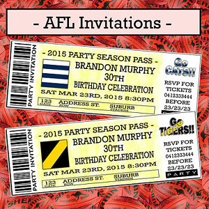print your own invitations tickets afl football tigers blues