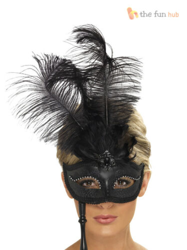 Ladies Masquerade Ball Eyemask Mask Baroque Venetian Ornate Feather Fancy Dress