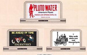 3-billboard-signs-87-HO-or-OO-scale-PLUTO-WATER-Steam-Cycle-Car-varnish