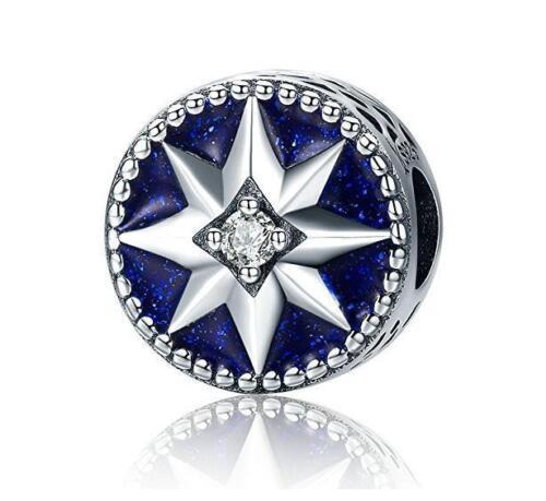 European 925 Silver CZ Charm Beads Pendant Fit sterling Bracelet Necklace N#603