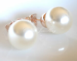 Image Is Loading 18k Rose White Gold Gp Silver Simple Pearl