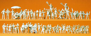 Preiser-16342-Volksfestbesucher-Schausteller-60-unbemalte-Figuren-H0