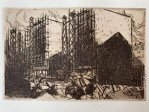 Jean julien lemordant engraving water forte etching architecture brittany bretagne
