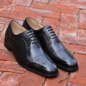 Dress-Shoes-Oxford-Men-Black-Handmade-Formal-Brogue-Lace-up-Genuine-Calf-Leather