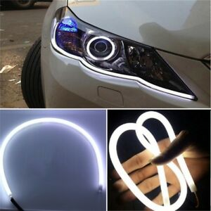 2-Blanc-60cm-LED-Tube-Bande-Lampe-Lumiere-Phare-Flexible-DRL-Voiture