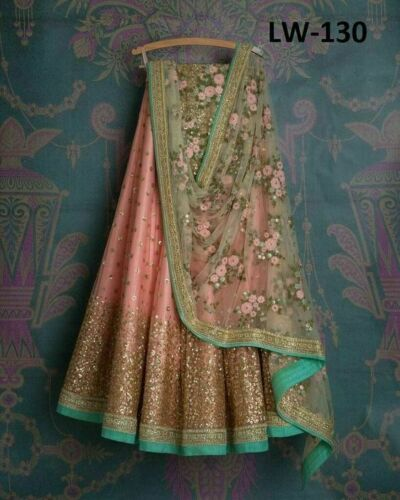 Designer Peach Net Embroidery Work Circular Lehenga Choli New Lengha Ghagra Set