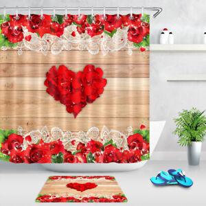 Shower Curtain Toilet Mat Bath Curtain Valentine/'s Day Romantic Rose Petal Decor