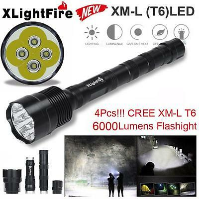 6000LM 4X CREE XML T6 LED Extended Tactical Flashlight Waterproof Torch Lamp