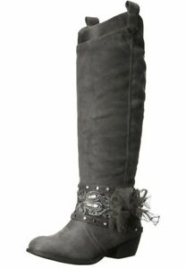 NIB-Not-Rated-Boho-Gray-Tall-Embellished-Buckle-Straps-Western-Boots-7