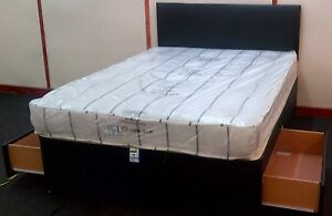 Double divan bed base only with 2 drawers black for Divan bed with 2 drawers