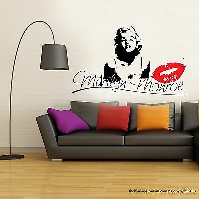 Marilyn Monroe Kiss Wall Decal Stickers Decor Easy Removable Sticker