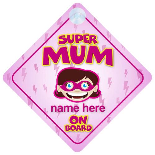 Superhero Mum On Board Funny Gift Car Sign Mommy//Mom