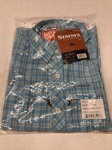 Free US Shipping XL Simms Stone Cold LS Shirt Teal Plaid