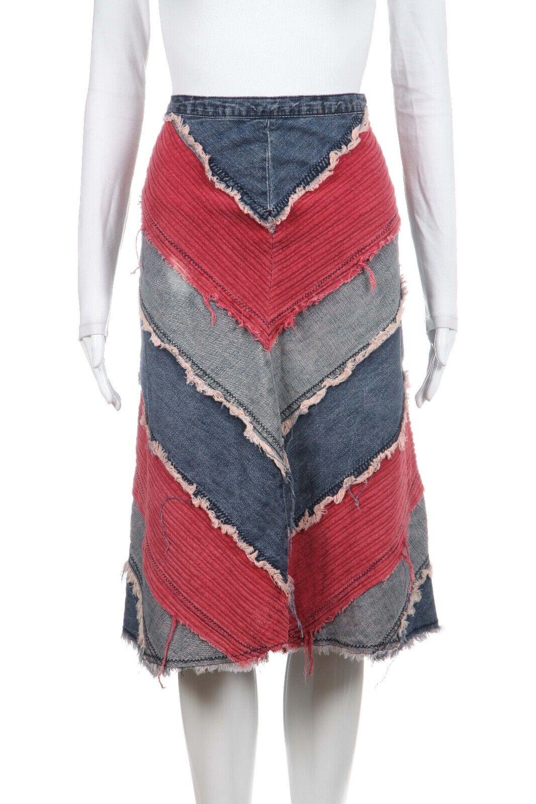 BUFFALO DAVID BITTON Denim Patch Skirt Size 30 100% Cotton bluee Red Knee Length