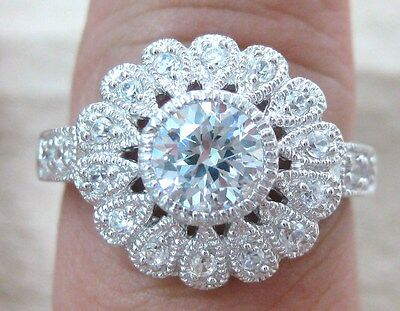 100% REAL 925 STERLING SILVER vintage ART DECO design ROUND cz Ring size Q S