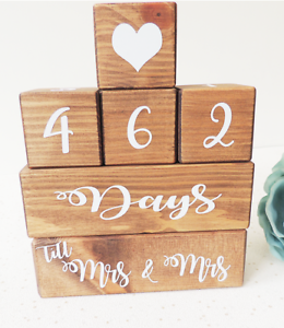 wedding countdown engagement gift wooden countdown blocks bride to be present