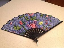 Ladies Folding Hand Fan Cloth & Wood Gorgeous Blue Floral Design Black Blades