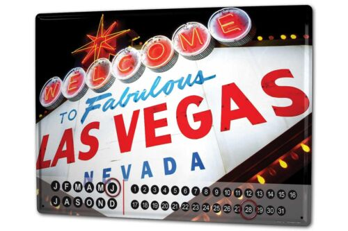 Dauer Wand Kalender Retro Metropole  Las Vegas Nevada Metall Magnet