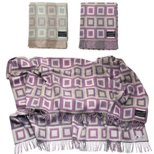 Super Doux Carré authentique laine d/'agneau Laine Picnic Bedding Throw Blanket bleu lilas