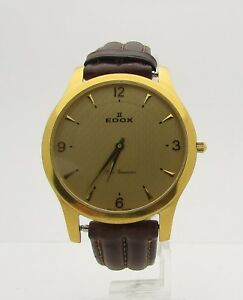 Edox-Les-Genevez-Gold-Plated-Men-039-s-Leather-Strap-Wristwatch-38mm-21156