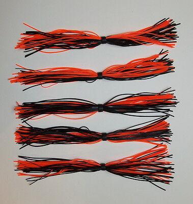 White w//Orange Tips -Bass Fishing-Fishing 10 Custom Silicone Spinnerbait Skirts