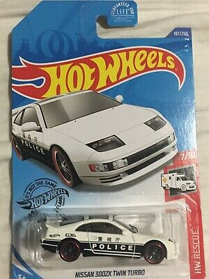 NISSAN 300ZX TWIN TURBO #187 ☮ white; POLICE ☮ RESCUE ☮ 2020 i Hot Wheels case L