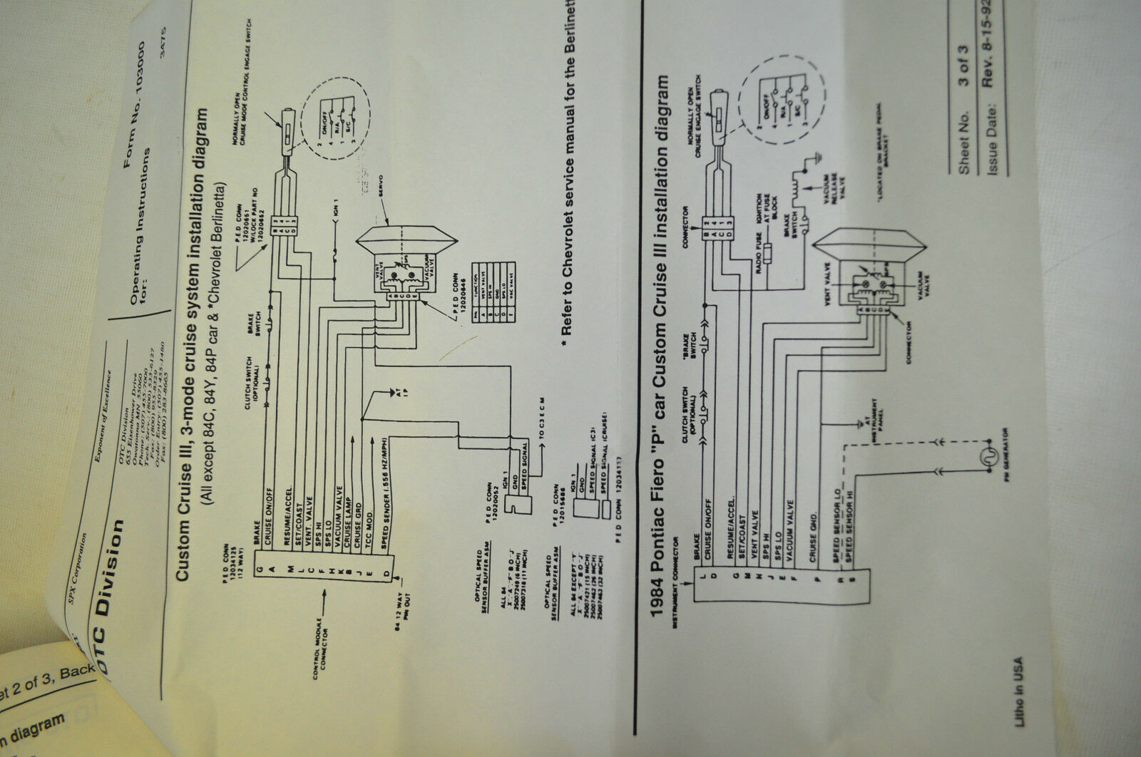 Fiero Cruise Control Wiring Diagram Otc 3475 Ac Custom Tester Iii For Gm Vehicles 1983 And Up Ebay