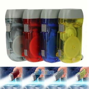 4-X-Portable-Wind-Up-main-Pressage-Manivelle-D-039-Urgence-Camping-DEL-Lampe-de-Poche-Torche