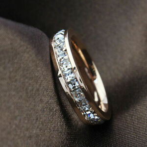 Band-Ring-Gold-Stainless-Titanium-Steel-Men-Womens-Silver-Rose-CZ-Sz3-10-Wedding