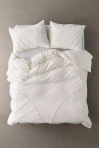 Eden Tufted Washed Cotton White Quilt Cover QUEEN KING Doona Duvet Set Blanket