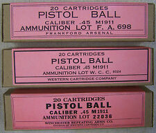M1911 .45 ACP WW2 NEW REPLICA 20 ROUND AMMO BOX (3 PCS) - FA, WRA, & WCC LABELS