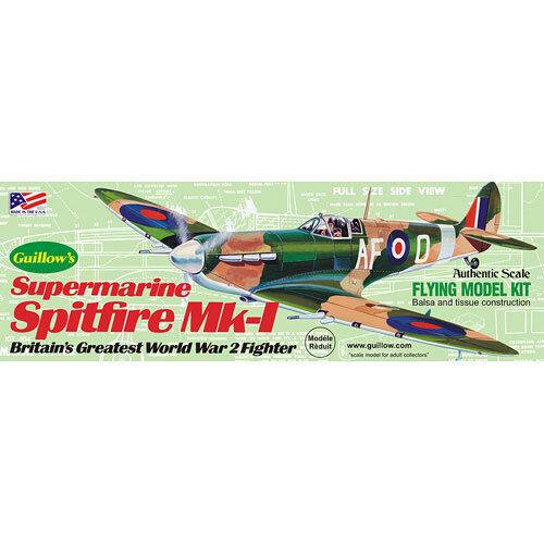 GUILLOWs Supermarine Spitfire 504 Powered Balsa Aircraft 1:32 Flying Model Kit