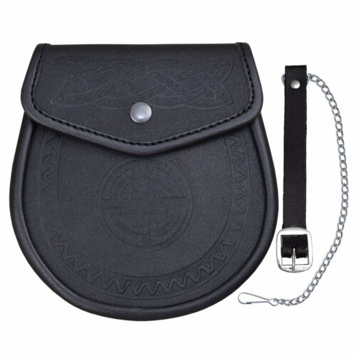 Celtic Embossed Leather Sporran Kilts Tradtional Scottish Wallet Smooth Finish