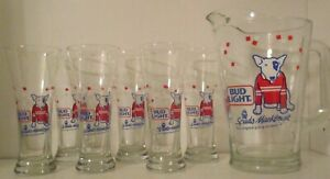 NEW-Vintage-set-Anheuser-Busch-Bud-Light-Spuds-MacKenzie-pitcher-6-beer-glasses