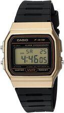 Casio F91WM-9A Men's Retro Black Band Gold Case Alarm Chroograph Digital Watch