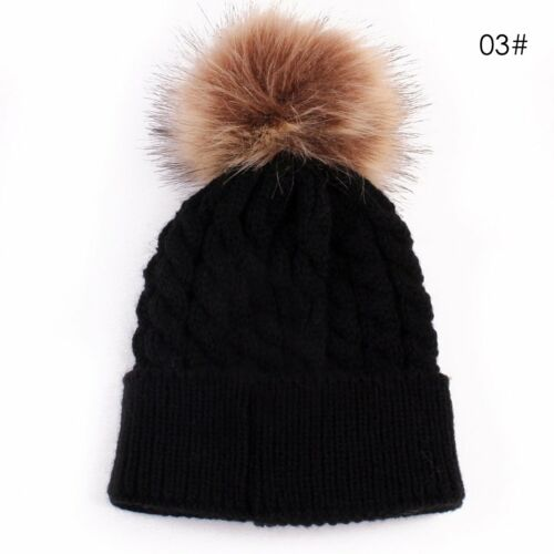 2Pcs Mother Child Baby Warm Winter Knit Beanie Fur Ball Pom Hat Crochet Ski Cap