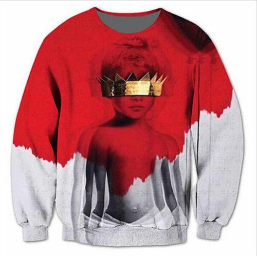 2018 New Mens//Womens Rihanna Anti Sublimation 3D Print Sweatshirt Pullover AX12