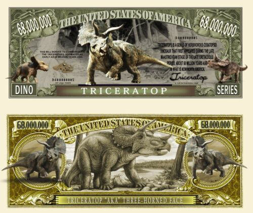 Triceratops Novelty Dollar Bill comes in a Free Soft Polly Sleeve