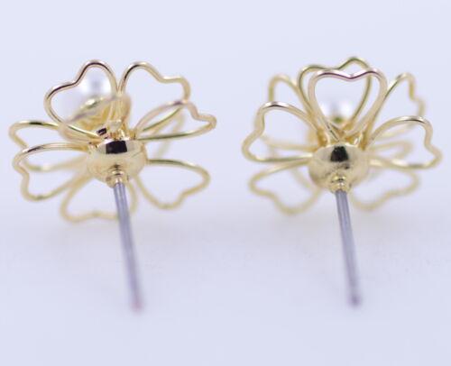 Découpe délicate fleur de prunier ton or 3D Boucles d/'oreilles avec stud perle