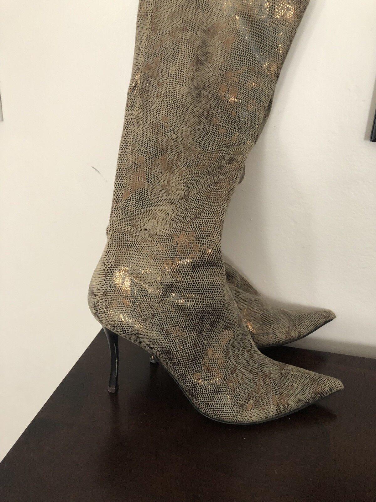 botas de cuero para mujer prodotto oro, 39