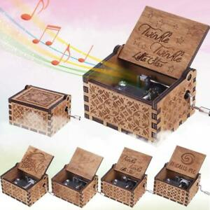 Antique-Wooden-Carved-Hand-Crank-Music-Box-Musical-Toys-Birthday-Xmas-Kids-Gifts