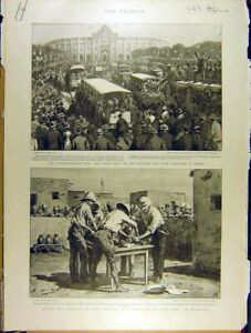 Original-Old-Antique-Print-1898-War-Spanish-America-Madrid-Darmali-New-York