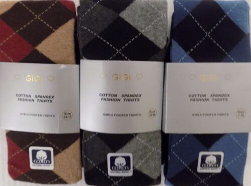 Girls Cotton Extra Warm Argyle Footed Boot Tights 4-6 to 14-16  Buy 2 get 1 Free