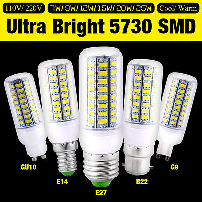 E27 E12 GU10 G9 E14 B22 5730 LED Lights Energysaving Bulb Bright Corn Lamp 7-25W