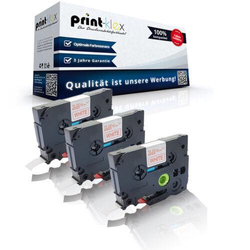 Ptouch Plus Serie 3x Kompatible Schriftbänder für Brother TZE232 Rot auf Weiß