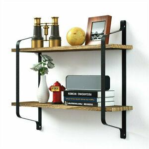 Dual Layer Wall Shelf Mounted Bookshelf Unit Decrorative Rack Industrial Style