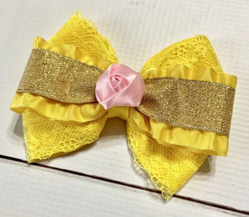 """4"""" Beauty And The Beast //Princess Belle Yellow Gold Pink Boutique Hair Bow"""