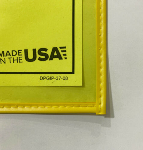 "Job Ticket Holders 9/""x12/"" Yellow Tinted Sewn Vinyl Envelopes 20-Pk Made in USA"